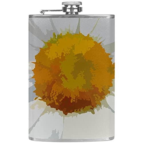 Petacas de Alcohol Pequeña margarita blanca Petacas de Licor Acero Inoxidable 227ml Frasco de Whisky Botella de bolsillo Con embudo 9.2x15cm