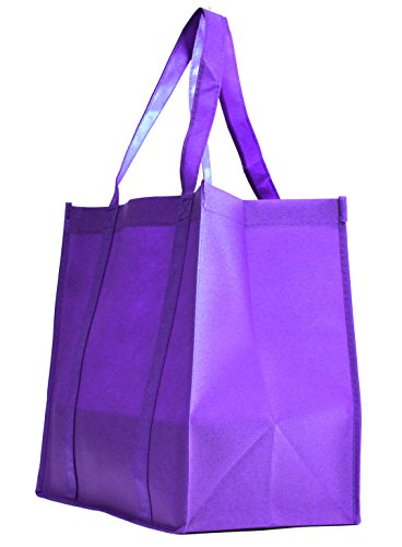 Gift Expressions Grocery Tote Bag | 100 Pack | Purple | Heavy Duty Large Gift Bags & Super Strong, Reusable Eco Friendly Shopping Bags, Stand Up Bottom, Recyclable Non Woven High Quality Tote Bags