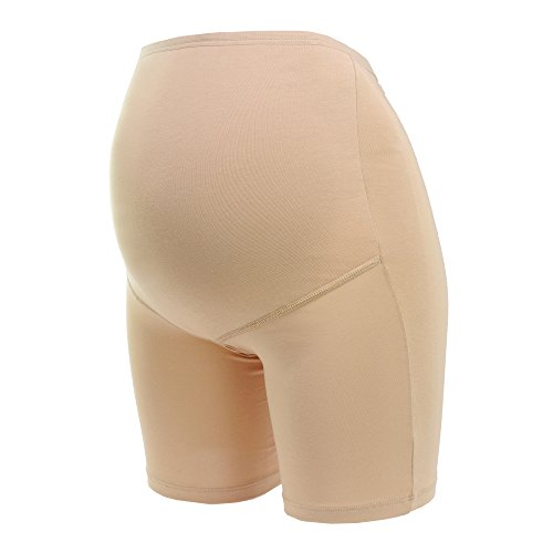Herzmutter Umstandsslip-Schwangerschaftsslip mit Langem Bein - für Schwangerschaft-nach Geburt - hochwertiger Baumwoll-Mix - Beige-Hautfarben-Schwarz - 1er & 2er-Set - 5000 (M, Beige)