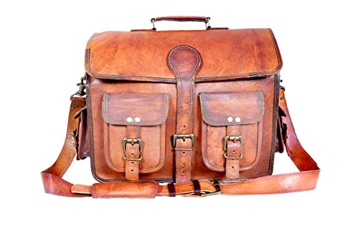 18' Inch Genune Handmade Goat Leather Messenger Briefcase Office Satchel Distressed Bag|Laptop Bag|Shoulder Bag For Men & Women