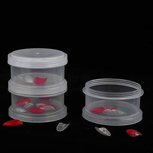 3 capas Decoración de uñas Secuencia Organizar Caja Transparente Caja de Almacenamiento de Arte de Uñas Vacía Organizador de la joyería