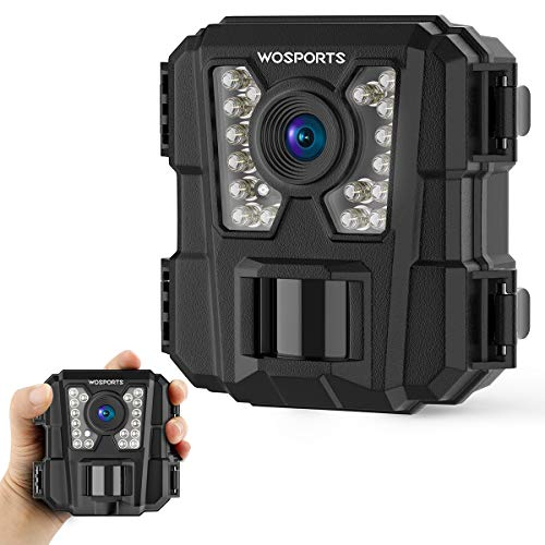 WOSPORTS Mini Trail Camera 16MP 1080P Waterproof Game Hunting Cam with Night Vision for Wildlife Monitoring Hunting