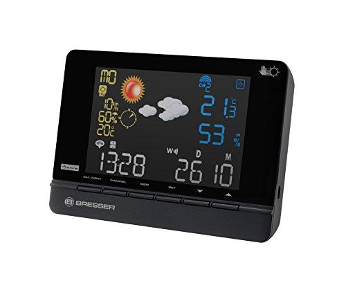 Bresser Funkwetterstation 4CAST CS mit großem Farbdisplay, 2 Tagen Meteosat Wettervorhersage, DCF-Funksignal, Temperatur/ Luftfeuchtigkeitsanzeige und Außensensor, schwarz