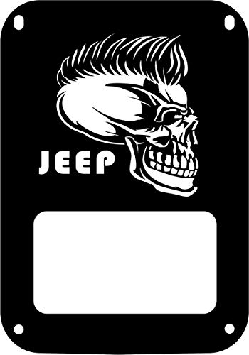 JeepTails Jeep Mohawk Skull Tail lamp Light Covers Compatible with Jeep JK Wrangler - Black - Set of 2