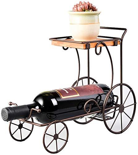 Estantería de vino Estante de vino Vintage Estante de vino Decoración Hogar Iron Vine Gabinete Mostrar Europa Retro Estilo Minimalista Coche de cuatro ruedas con flores 30 x 12.5 x 24.5cm Almacenamien