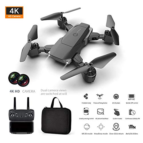 Teckey Foldable Drone with 4K HD Camera, K2 HD Camera Dual Camera Quadcopter Long-Endurance Altitude Hold HD Aerial Photography Folding Drone Remote Control Aircraft