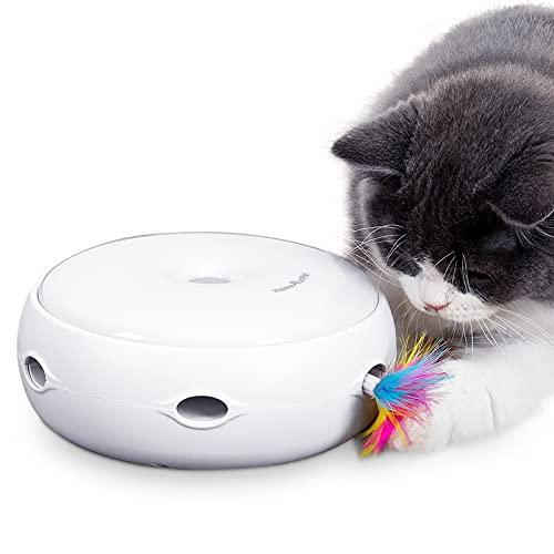 Intelligenzspielzeug Interaktiv Katzenspielzeug DREI Modi Tag und Nacht Elektronisch Federspielzeug Spielen Automatisch Stimulieren Katze Sin Kätzchen Spielzeug einfach Ersetzbar Feder (Weiß)