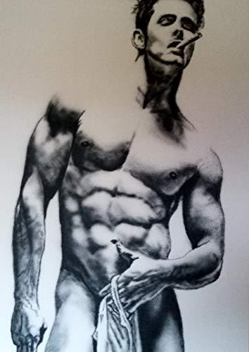 Acrylmalerei auf Leinwand/Akt nackt / 100% handbemalt schwarz und weiß/signiert original Art Sale/Sexy/Männer/Model/Guy/Kunst 60x80cm (24