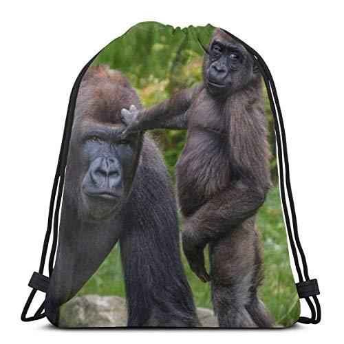 AEMAPE Baby Animals Gorillas Animals Drawstring Backpack Gym Sack Cinch Bag String Bag 36x43 cm
