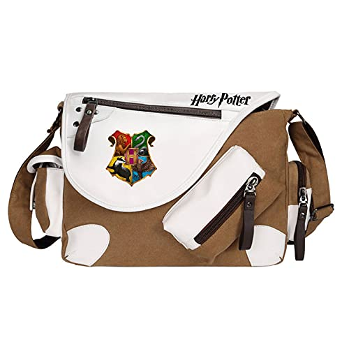 QLma Jungen Casual Riding Umhängetasche Mädchen Canvas Messenger Bag Hogwarts Schultasche Unisex Brown