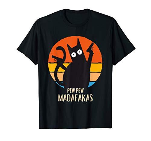 Pew Pew Madafakas Vintage Retro Katze Funny Crazy Black Cat T-Shirt