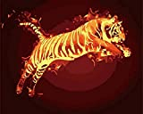 Digital Painting DIY Canvas Oil Painting Kit Adult Flame Tiger Beginner with Brush & Acrylic Paint-(16x20inches) 40x50cm