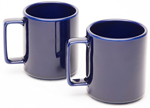 American Mug Pottery Ceramic Square Handle Coffee Mug, Made in USA, Cobalt Blue, 17 oz - Pack of 2