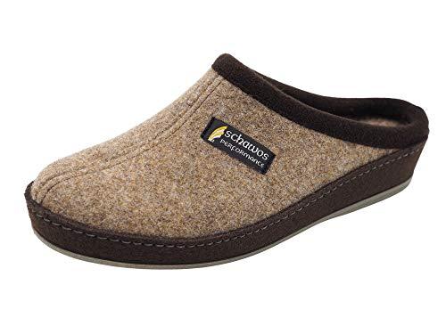 Schawos Filz Hausschuh für Herren, Qualitäts-Pantoffel, Made in Germany, mit anatomisch geformtem Fußbett und aktiver Fersendämpfung (Braun, 43 EU, Numeric_43)
