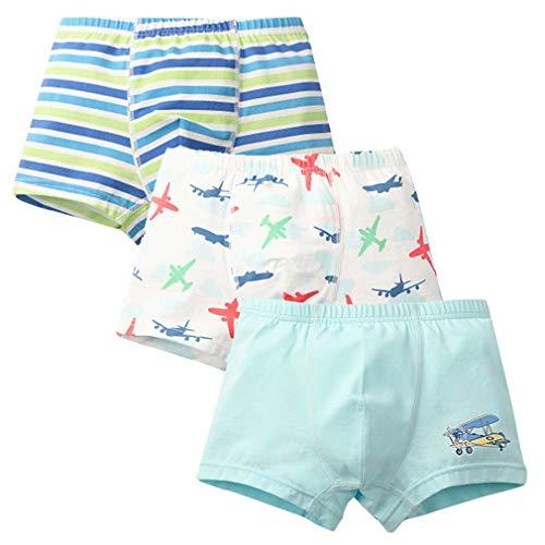 GEMVIE Lot de 3 Bébé Slips Coton Respirant Élastique Pantalon Court Cartoon Imprimé sous-Vêtements pour Bébé Fille Garçon1-4 Ans