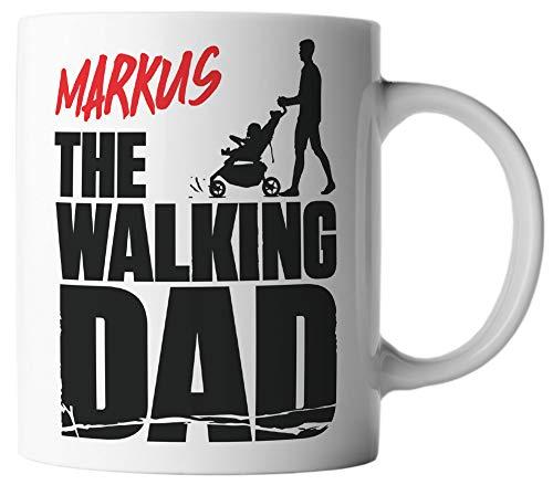 vanVerden Tasse - The Walking Dad - Wunschname anpassbar personalisiert - beidseitig Bedruckt - Geschenk Idee Kaffeetassen mit Spruch