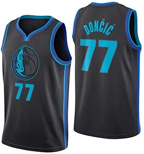 Luka Doncic Basketball Fan Trikot Mann Dallas Mavericks # 77, Herren Top T-Shirt Sport Erwachsene Männer Boutique Stickerei Sport Weste College Wettbewerb-Blue-XXL(190~195)