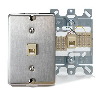 Leviton 40223-S Wallplate, Telephone Jack, 1-Gang, Type 630A, Stainless Steel