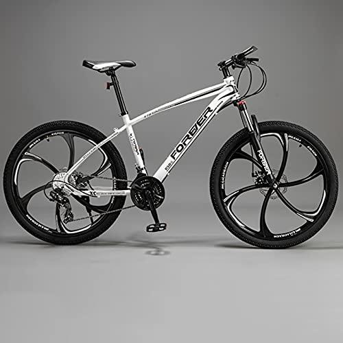 Bicicleta De Montaña para Hombres De 26 Pulgadas, Bicicleta De Aluminio Rockrider De 21 Velocidades con Cambio Shimano, Bicicleta Resistente A Los Golpes para Adultos,White Black