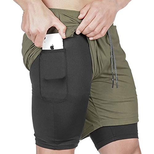 DUOFIER Fashion Outdoor 2 in 1 Shorts for Men Workout Trunks Double Layer Athletic Gym Pants, Green-XL