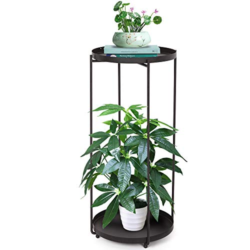2 Tier Plant Stand Table, Black Metal Plant Holder Stand Outdoor Indoor, Houseplant Stand Corner Shelf with Stylish Mid-Century Design, Medium for Indoor, Outdoor House, Garden & Patio (L)