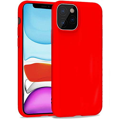 iBarbe Compatible with iPhone 11 PRO MAX 6.5 Inch Case, Soft Plastic Slim Fit Full Protective Cover with Matte Finish Grip Phone Bumper with Anti-Scratch Shockproof Protective Cover - Red