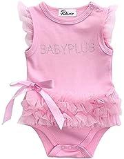 الوليد الرضع الطفل الأميرة فتاة رومبير الصيف أكمام إلكتروني طباعة الدانتيل القوس حللا الوردي 0-24 متر (Kid Size : 12M)