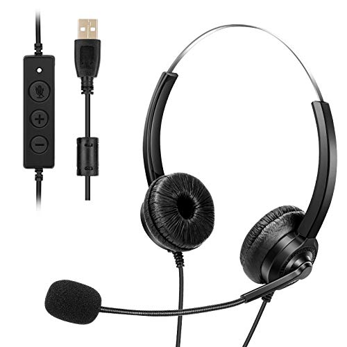 Handy Headset mit Mikrofon, USB Headset mit Mikrofon Call Center Headset Noise Cancelling & Audio Controls Stereo PC Headset für Callcenter Büro Business Computer