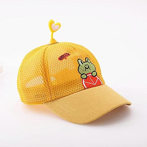 TOORY mural Sombrero para El Sol Verano Malla Fina Gorras para Niños Lindo Sombrero Protector Solar Verano Béisbol Masculino-Yellow-10 Months 3 Years Old 46-51Cm