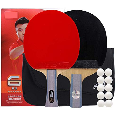 Lerten Palas De Ping Pong Ofensivos Profesionales,Raqueta De Ping-Pong De Seis Estrellas,Antiadhesiva De Doble Cara,Adecuada Para Jugadores Avanzados/Como se muestra/Long+Short