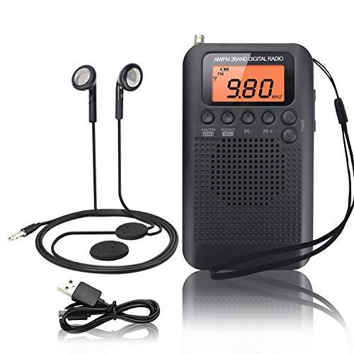 Tragbares Radio Mini FM/AM Stereo Digital Radio mit Kabel Portable Radio mit Kopfhörer und Eingebauten Lautsprechern Multifunktionale Pocket Radio mit Wecker und Sleep Timer, Wechselbar Akku/Batterie
