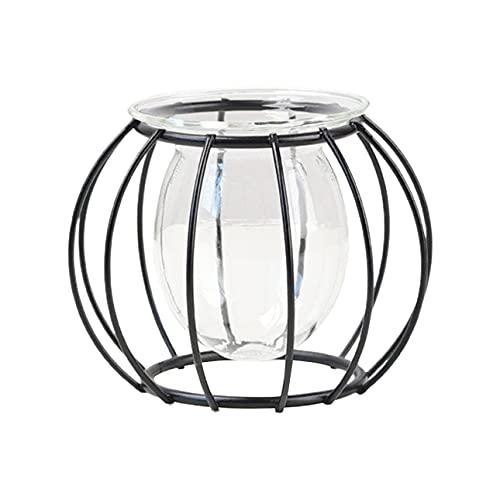 Mini maceteros de hierro con inserto de cristal, decoración de escritorio, jarrón pequeño para decoración del hogar, plantas acuáticas y suculentas (negro, D)