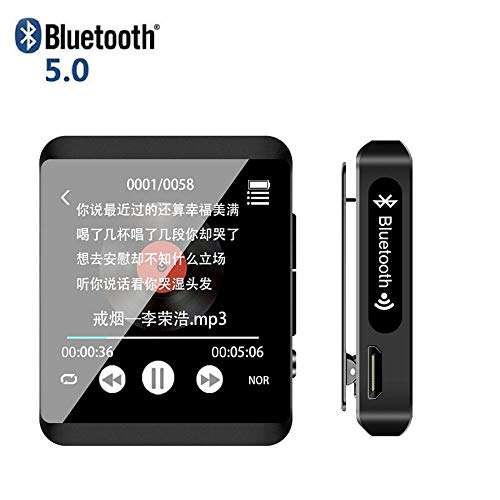 Jiasi 8/16GB MP3 Reproductor,5.0 Bluetooth 1.5' Reproductor De MP3 Pantalla Táctil Completa HiFi Sin Pérdida De Sonido MP3 Running, FM Radio, Grabadora De Voz con Auriculares,8G