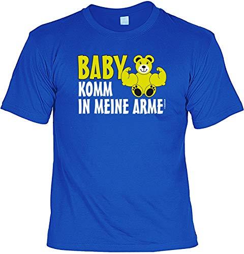 Niedliches Fun Shirt: muskulöser Teddybär - Baby komm in Meine Arme - royal-blau