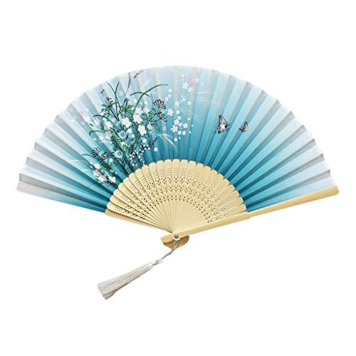 HINK Ventilateur Pliant Ventilateurs pliants Ventilateurs de Poche Ventilateurs en Bambou Ventilateur de Maintien de la Main en Bambou Creux pour Femme Ventilateurs de Maison et de Jardin
