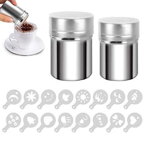 Edelstahl-Pulverstreuer 2 Stück Schokoladenstreuer Mehlstreuer Puderzucker Streuer mit 16 Pcs Kaffee Cappuccino Schablonen