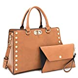 Dasein Purses and Handbags for Women Satchel Bags Top Handle Shoulder Bag Work Tote Bag With Matching Wallet (Tan)