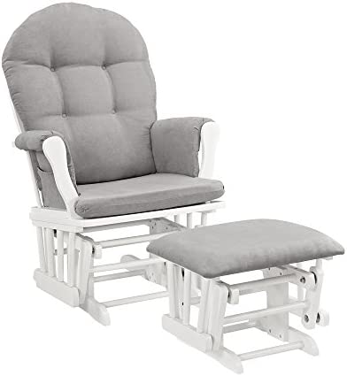 Best Windsor Glider and Ottoman, White with Gray Cushion
