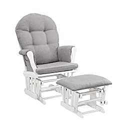 commercial Windsor glider and ottoman, white and gray pillows nursery furniture set