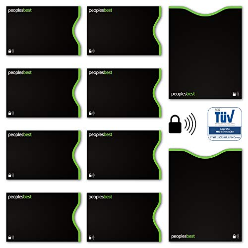 TÜV geprüfte RFID & NFC Kreditkarten- und Reisepass Schutzhüllen (10 Stück) | Travel-Basics | super dünn & robust für 100% Datenschutz (Schwarz)