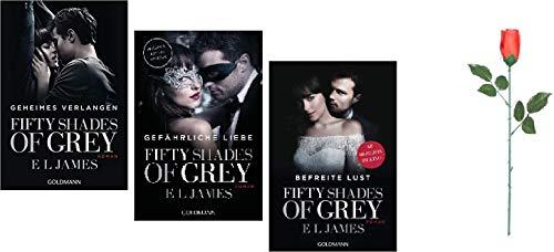 Fifty Shades of Grey Trilogie Band 1-3 und eine Rose zum Verführen 1. Geheimes Verlangen & 2. Gefährliche Liebe & 3. Befreite Lust & 4. Rote Rose