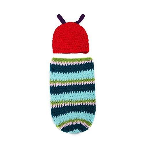 Demarkt Neugeborene Caterpillar Fotografie Kleidung Kostüme Kinder gestrickt Caterpillar Baby Foto Props Kleiderset Fotographie Raupenkostüm