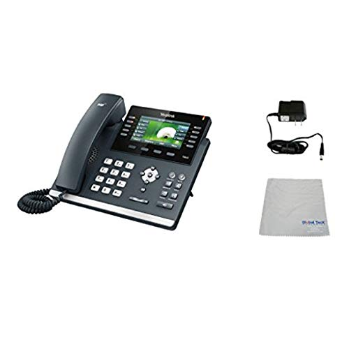 Global Teck Bundle of Yealink T42G SIP POE Office Phone Bundle with Power Supply and Microfiber Cloth   Requires VoIP Service - Vonage, Ring Central, 8x8, Mitel or Cloud Services