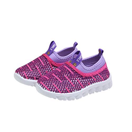 DEBAIJIA Zapatos para Niños 1-4T Bebés Caminata Zapatillas Niñas Entrenador Rayas Antideslizantes Malla Transpirable Ligero TPR Material