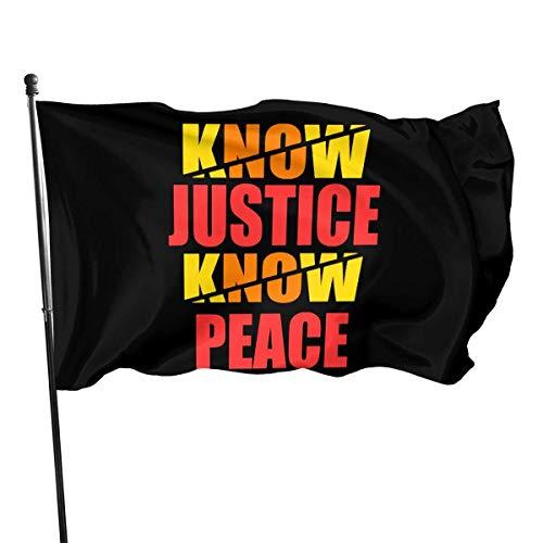 GYUB No Justice No Peace 3x5 Foot American Us Polyester Flag - Color Vivo y encabezado de Lona Resistente a la decoloración UV