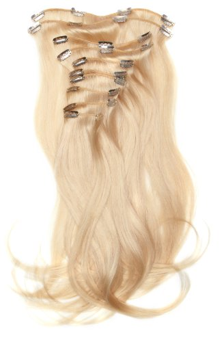 Love Hair Extensions - LHE/A1/QFC/120G/10PCS/18/60 - 100 % Cheveux Naturels Lisses et Soyeux - 10 Pièces Clippants en Extensions - Couleur 60 - Blond Pur - 46 cm