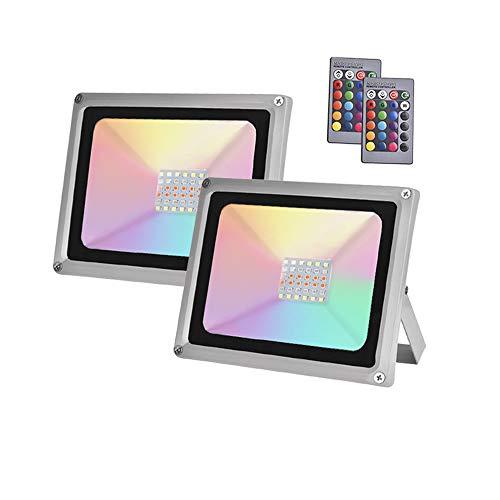2×30W Sararoom RGB Foco LED,IP65 Impermeable Foco Proyector Exteriores,16 Colores Proyector LED,con Modos Ajustable,para Jardín,Patio,Fiesta,Interior/exterior decoraciones