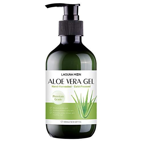 Lagunamoon Aloe Vera Gel 10.14 OZ, Aloe Vera für Haut und Haar, Aloe Vera Gel befeuchtet die Haut, lindert gereizte und juckende durch Sonnenbrand verursachte Haut, die wird, pflegt Haar