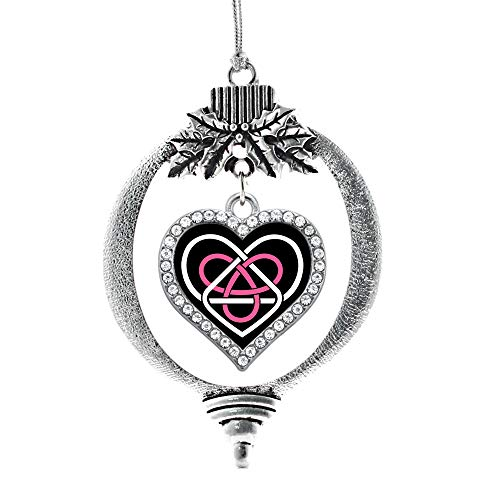 Inspired Silver - Celtic Sisters Knot Charm Ornament - Silver Open Heart Charm Holiday Ornaments with Cubic Zirconia Jewelry