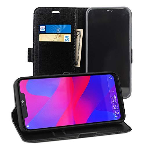 Acvensity BLU Vivo Xi + case, 6.2 case, flip Leather Wallet with Credit Card Slot Side Cash Pocket Side Magnetic Buckle, only for BLU Vivo Xi+ V0310WW, (Black) (Black)